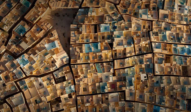 ,, стена, домики, искусство, архитектура, узор, аэрофотосъемка, пустыня сахара,