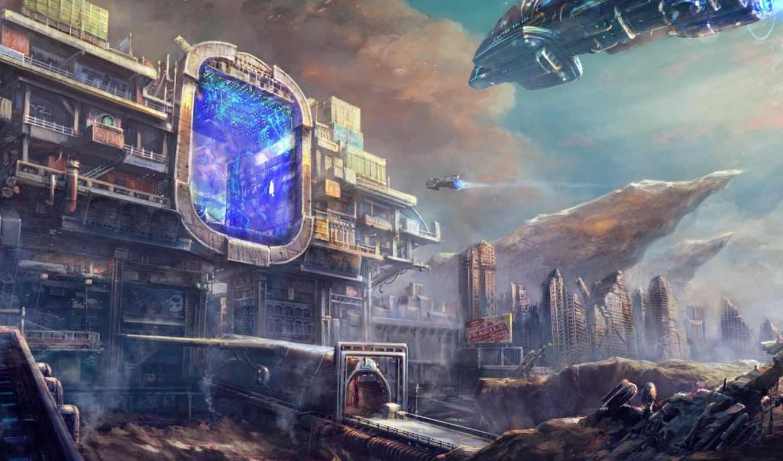 обои, арт, будущее, корабли, портал, врата, город,