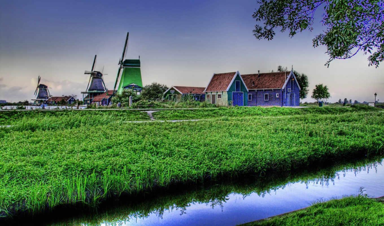краски, пейзаж, мельницы, зелень, правой, free, iphone, кнопкой,