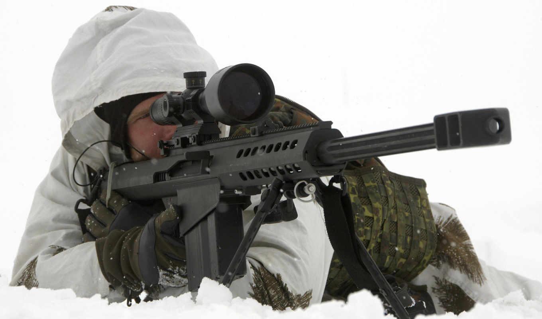 винтовка, снайперская, barret, стрелок, снег, прицел, снайпер,