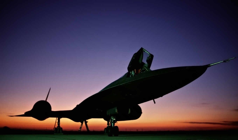 закат, аэродром, самолёт, sr, blackbird,