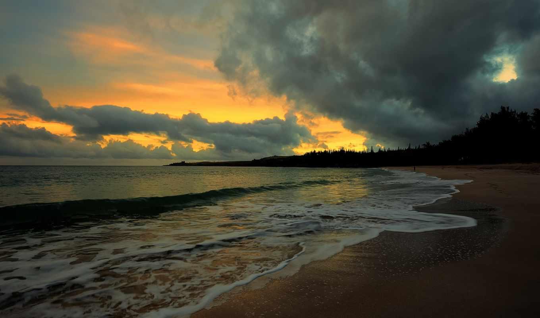 море, природа, water, волна, landscape, волны, песок, пляж, небо,
