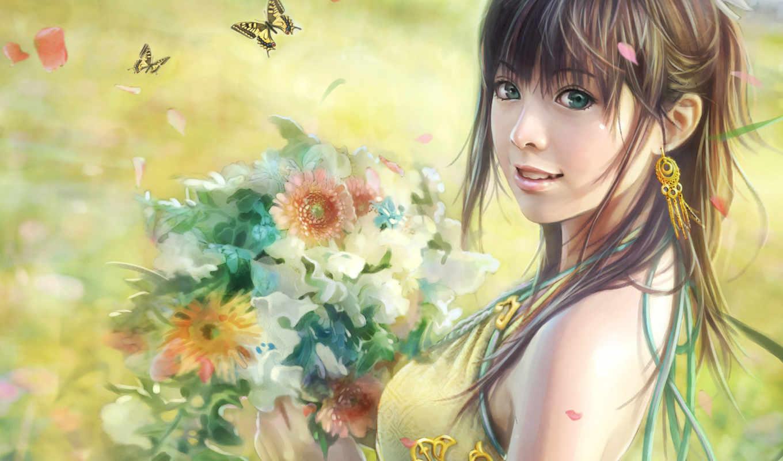 anime, красивые, девушки, девушка, цветы,