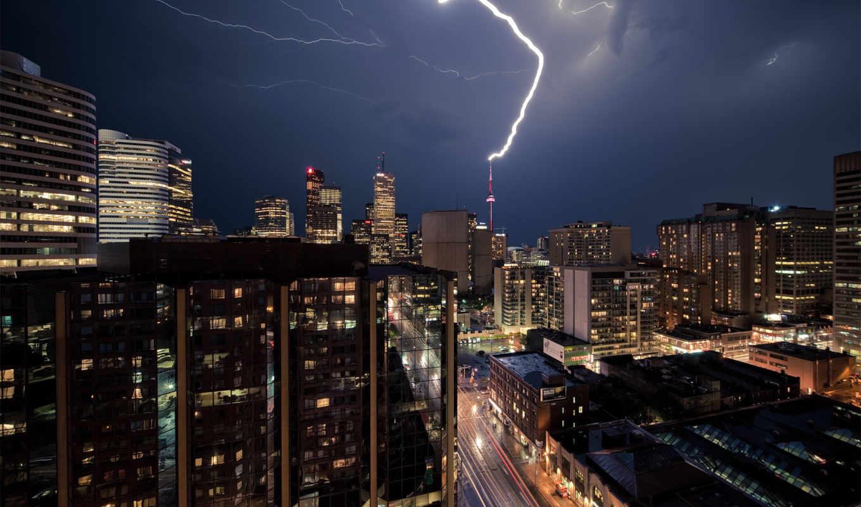 небо, тучи, lightning, грозовое, молнии, фиолетовое, буря,