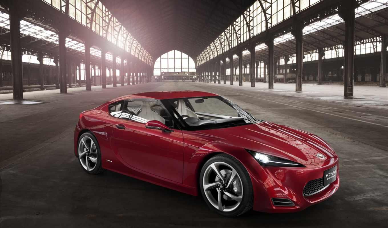 toyota, concept, ft, автомобиля, авто, взгляд, красного, спереди, new, кар,