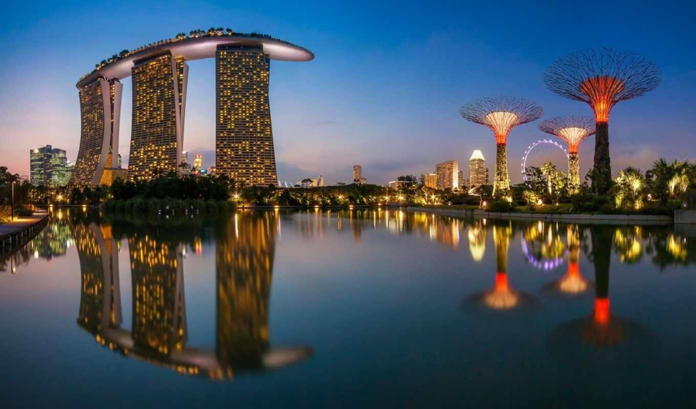 сингапур, город, огни, отражение, колесо, чертово, море, здания, ночь,