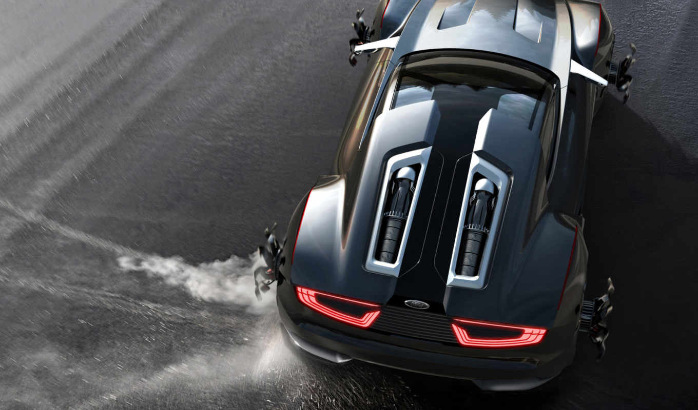 car, занос, black, ford, sports, огни, concept, color, cars,
