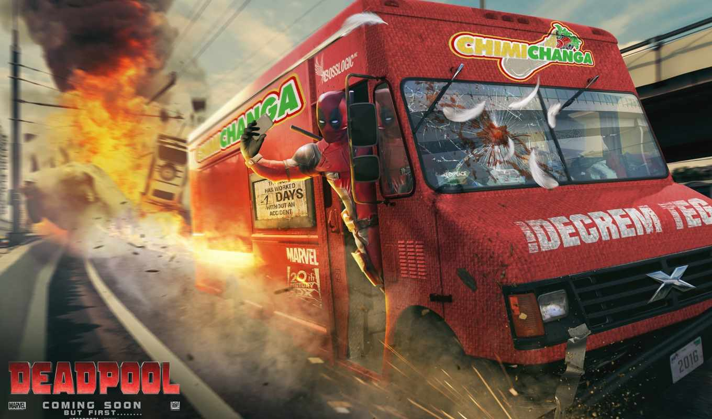 art, ван, phan, взрыв, дорога, truck, car, deadpool,