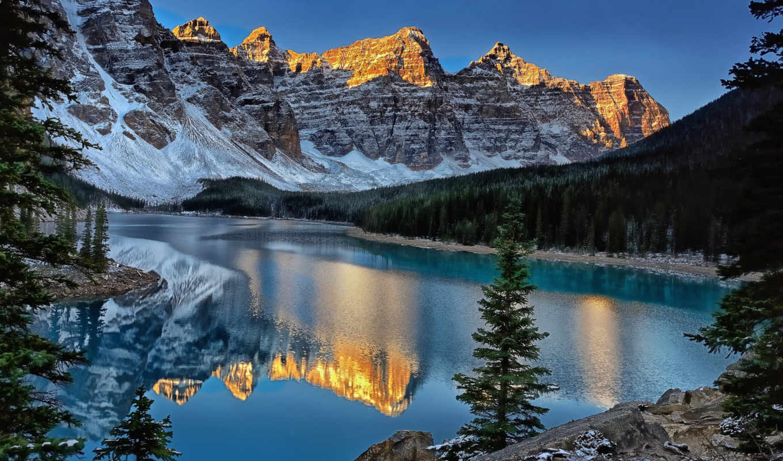 lake, canada, moraine, морейн, отражение, горы, peaks, ten, national, banff, park, картинку, картинка,
