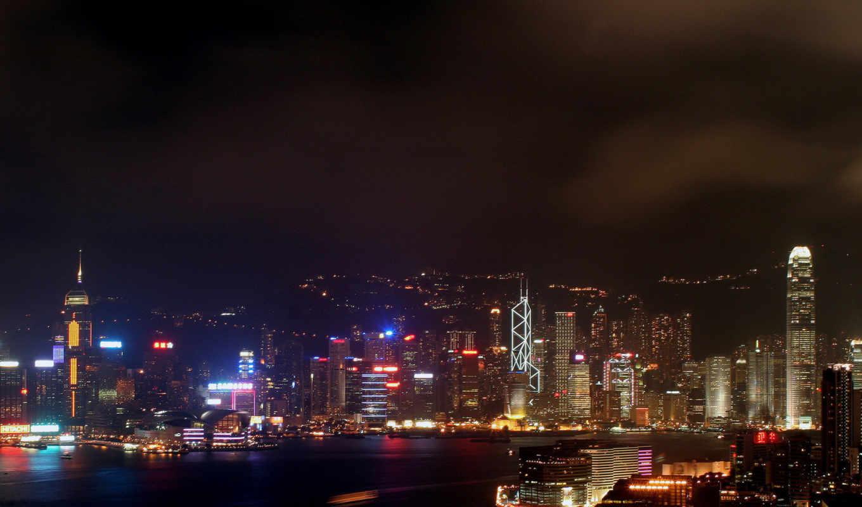 огни, ночь, гонконг, города, город, мир, небоскребы, разные, изображение, неон, hong,
