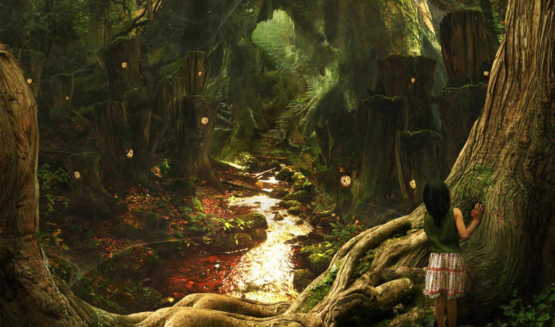 лес, девочка, тропа, fantasy, сказочный, лесу, сказочном, картинка, art, scenery, фэнтези, mcdarby, background, картинку,