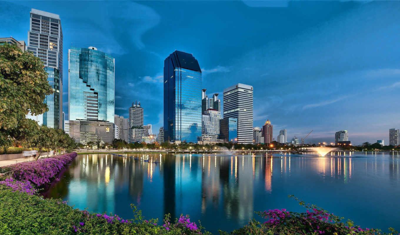 bangkok, таиланда, таиланд, fountain, город, столица, небоскребы, water, сумерки,