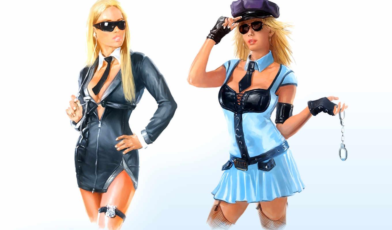 наручники, рисунок, devushki, униформа, чулки, очки,