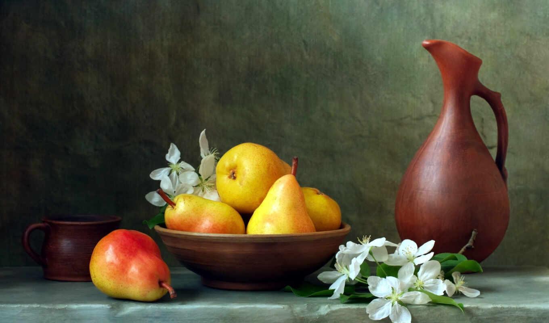 натюрморт, fruta, see, груша, кувшин, different, плакат, raw, фон