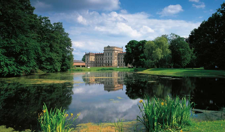,замок, nature, озеро, германия, houses, parks,