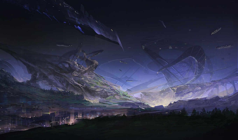 корабль, фантастика, арт, ночь, игры, природа,