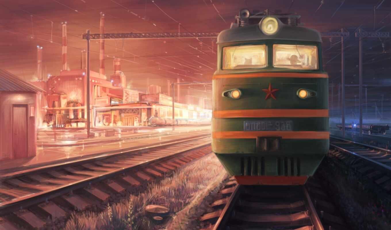 дорога, железная, поезд,