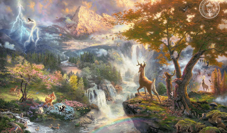 дисней, priroda, уолт, живопись, птицы, горы, tomas, reka, водопад, бэмби, multfilm, zhivotnye, кинкейд,