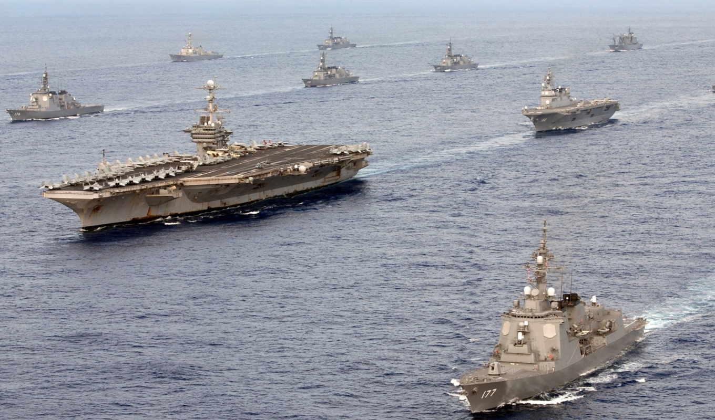 корабли, море, оружие,