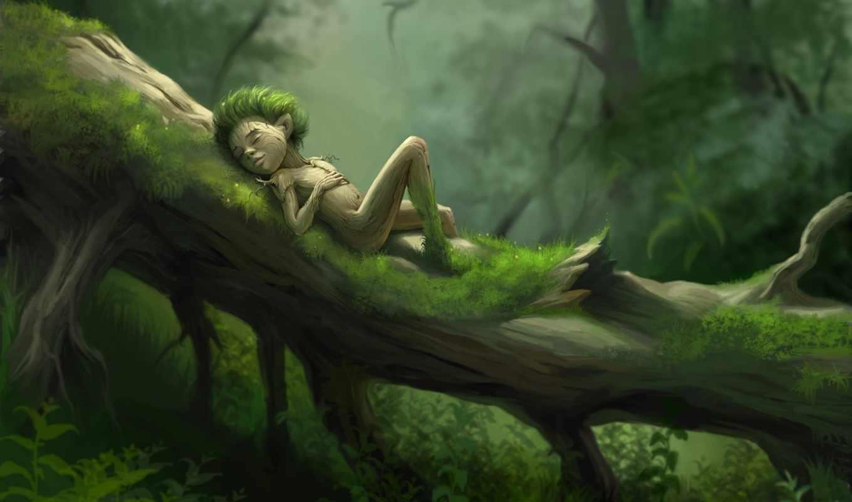 леса, лес, дух, fragrance, лесу, фэнтези, рисованные, дети, мужчина, спит, поверье,