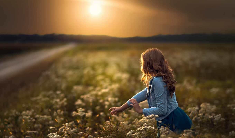 цветы, девушка, поле, женщина