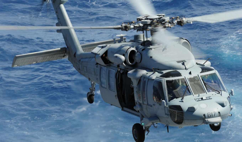 вертолет, hawk, море, полет, многоцелевой