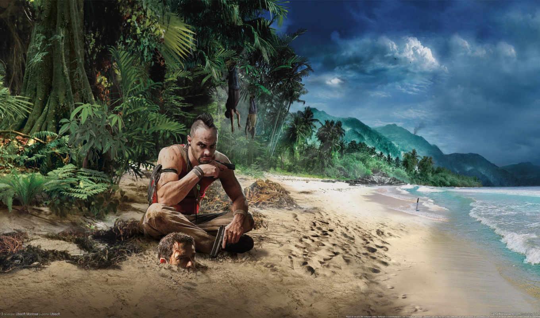 cry, far, море, голова, берег, пляж, картинка, пальмы, best,