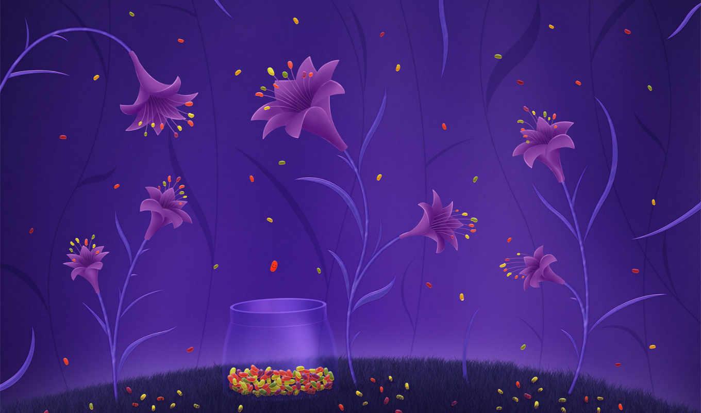 цветы, конфетки, волшебные, ipad, мультяшками, beans, jelly, яркий, лилии, конфеты, born, are, рисунок, фиолетовый, where,