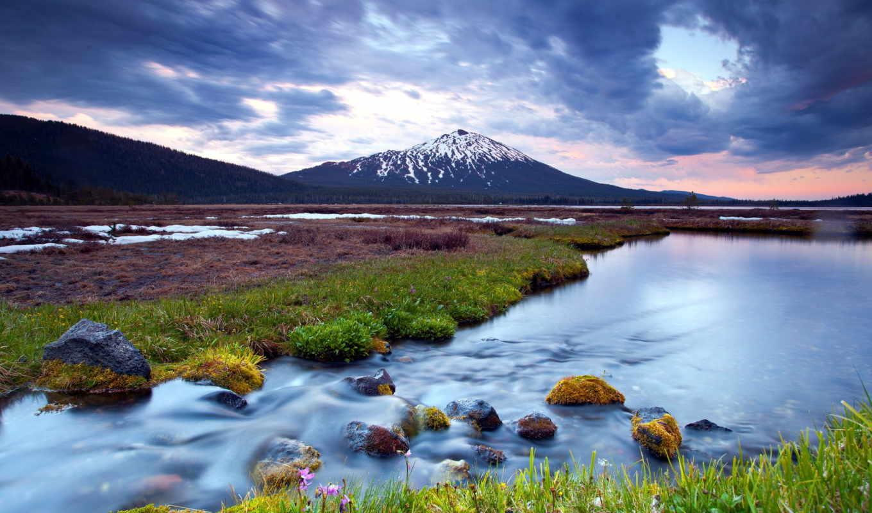 горы, река, landscape, природа,