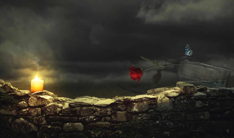 бабочка, красная, ночь, свеча, роза, огонь, цветы, бутылка, тучи, бабочки,