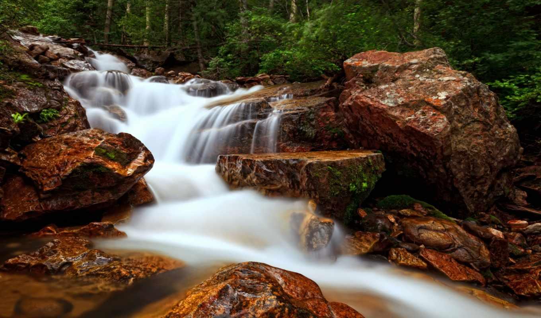 ручей, лес, природа, камни, long, exposure, водопад, ветки, река,