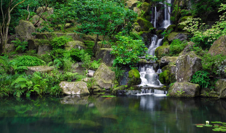 водопад, камни, garden, japanese, японский, грустный, park, водоем,