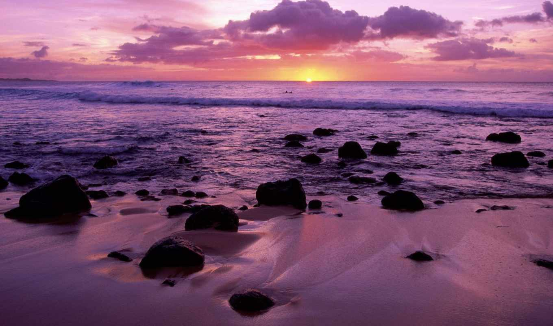 море, пляж, песок, закат,