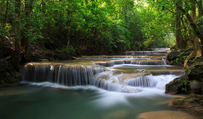река, лес, деревья, водопады, зелень, wallpaper, картинку, таиланд, каскад, this, thailand, картинка,