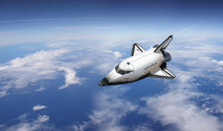 полет, космос, облака, буран, самолёт,