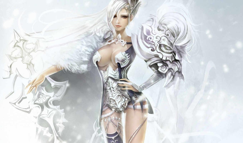 арт, фэнтези, девушка, волосы, меч, белые,