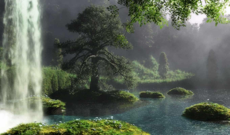 природа, art, река,