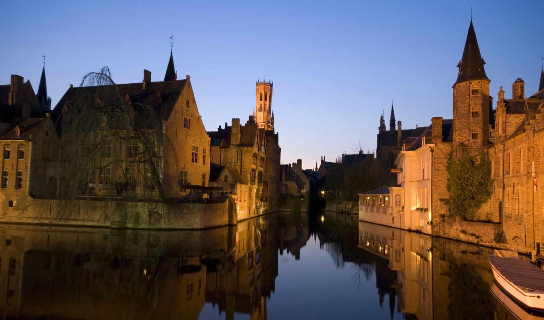 города, дома, бельгия, картинка, ночь,