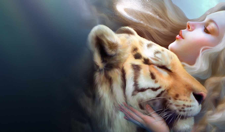 fantasy, тигр, девушка, фэнтази, дракон, love, кошки, разделе, art,