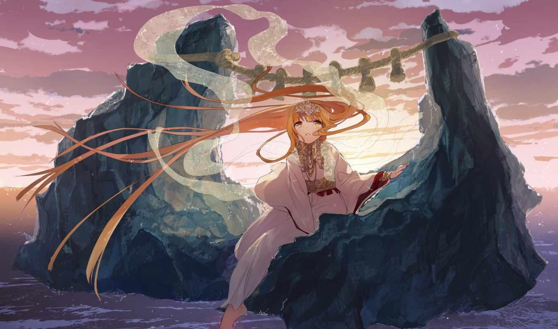 anime, плачущий, blonde, crying, девушка, кимоно, депрессивные, cvety, пейзажи -,