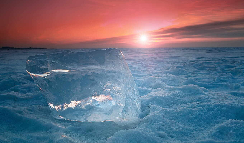 холод, лед, закат, north, winter, цветы, mobile, снег, льдина, море