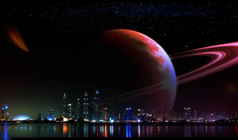 космос, ночь, art, planet, огонь, небо, star