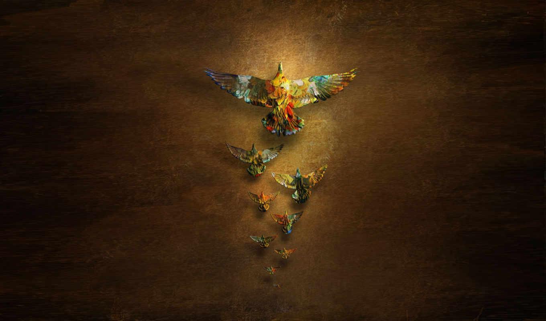 птицы, голуби, минимализм, креатив, фоне, темном, картинка, фигурки, разрешении, изображение, разноцветные, картинку, птица, мыши, кнопкой,