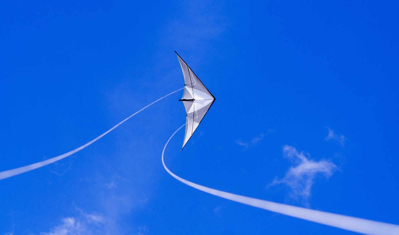 змей, воздушный, синий, небо, минимализм, летающий, kite,