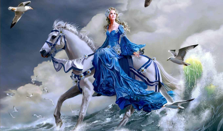 девушка, nene, thomas, арт, чайки, море, лошадь, волна, коне,
