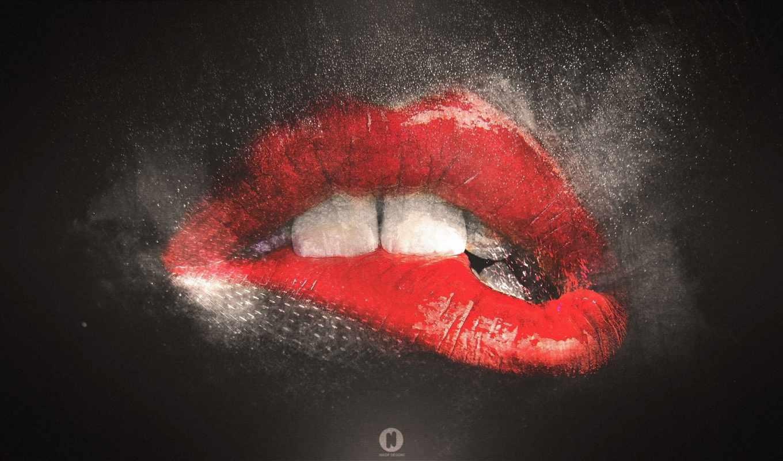 губы, красные, рисованные, меня, зубы,