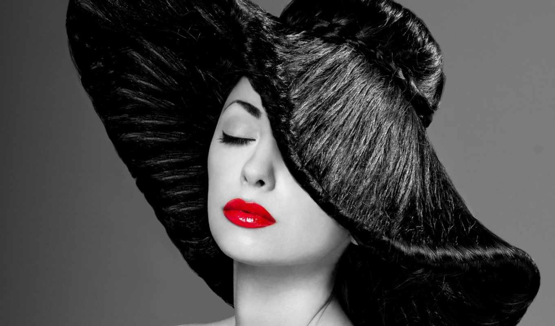 devushka, чёрно, белое, шляпа, красивые,