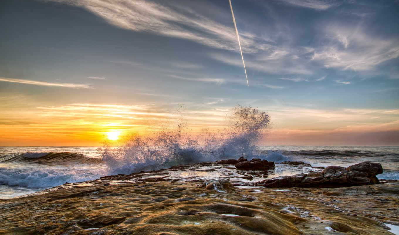 море, san, diego, hdr, природа, калифорния, небо, побережье, волны, рассветы, sun,
