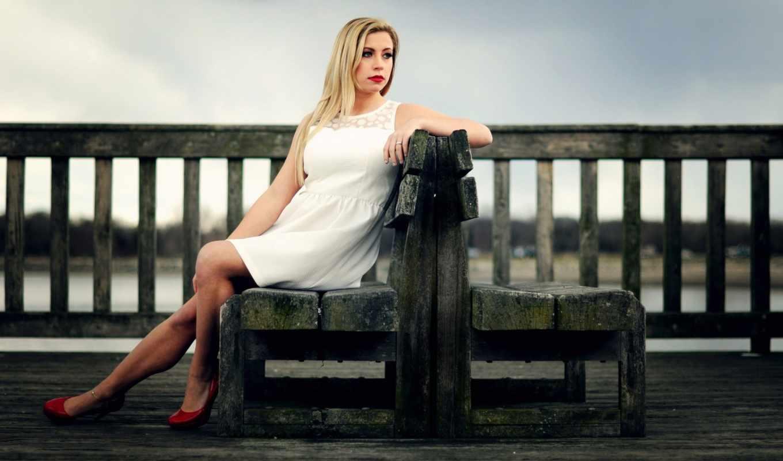 девушка, настроение, одиночка, скамейка, грустный, sitting, платье,