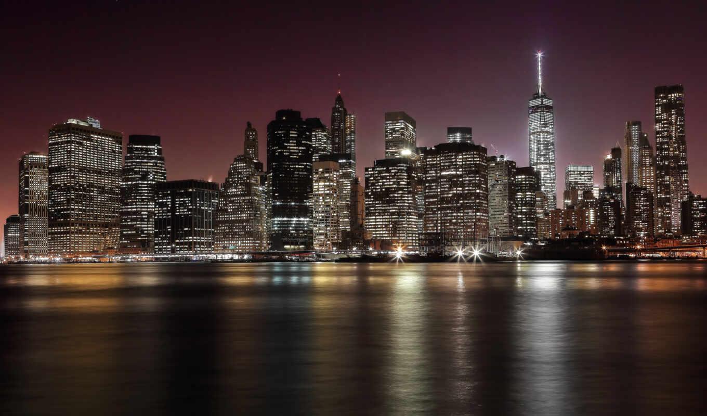 мост, skyline, город, бруклин, york, new, нью, огонь, сша